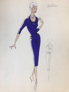Lady in Purple Cocktail Dress 1950's Parisian Fashion Illustration Sketch