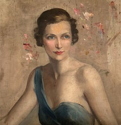 Lady Mountbatten, 1920's Portrait Oil Painting on Canvas Beautiful Original