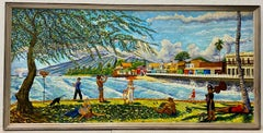 "Lahaina, Historic Site ""Sunday Afternoons Are Forever"" Vintage Hawaiian Painting"