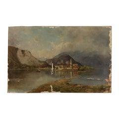 Landscape attributable to Silvio Poma, Oil on Canvas, 19th Century