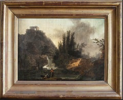 Landscape painting with lakelet and mill — 18th century