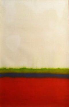 Landscape, Red, Green, Black, Horizon Line, Paint