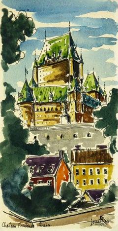 Landscape Watercolor -  Le Château Frontenac - Quebec