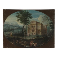 Landscape with Architecture and Figure, 18th Century. Allegory of Life in a Vill