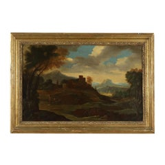 Landscape with Architecture and Figures Italian School 18th Century
