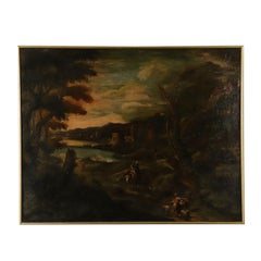 Landscape with Buildings and Figures Oil on Canvas 18th Century