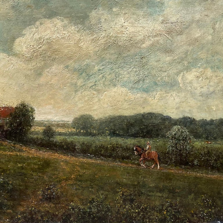 Landscape With Farmhouse, Farmers and a Horse by R.Meriot, French 19th Century - Painting by Unknown