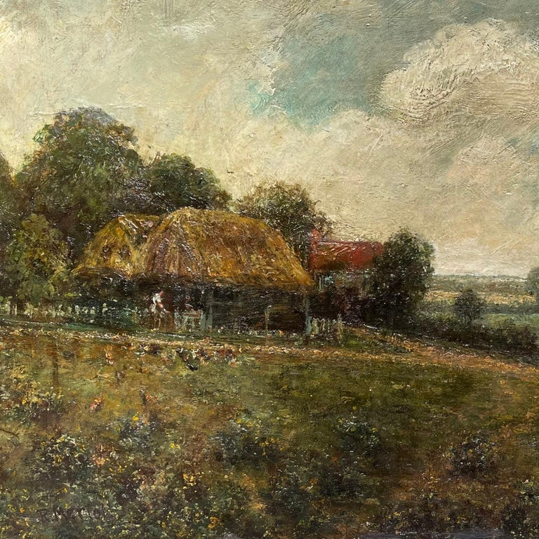 Landscape With Farmhouse, Farmers and a Horse by R.Meriot, French 19th Century - Impressionist Painting by Unknown