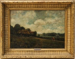 Landscape With Farmhouse, Farmers and a Horse by R.Meriot, French 19th Century
