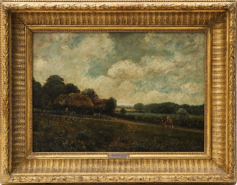 Unknown Landscape Painting - Landscape With Farmhouse, Farmers and a Horse by R.Meriot, French 19th Century
