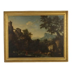 Landscape with Figures and Buildings Oil on Canvas 18th Century