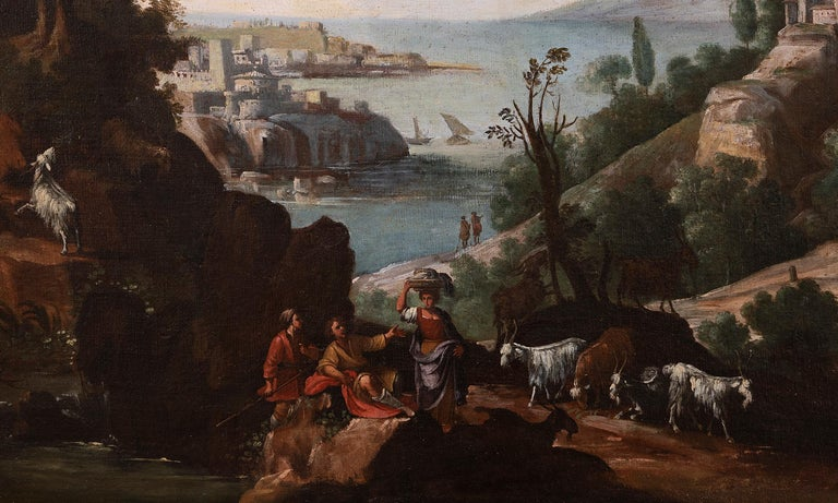 Landscape with Figures and Herd - Original Oil On Canvas - 18th Century - Painting by Unknown