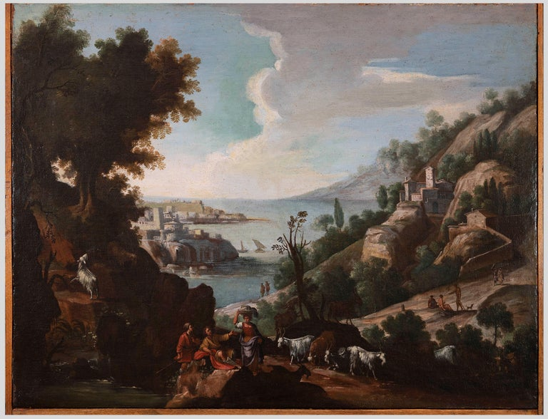 Unknown Landscape Painting - Landscape with Figures and Herd - Original Oil On Canvas - 18th Century