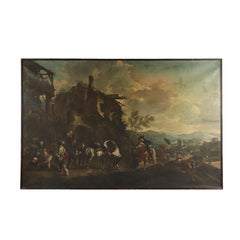 Landscape With Figures And Knights Oil On Canvas 18th Century