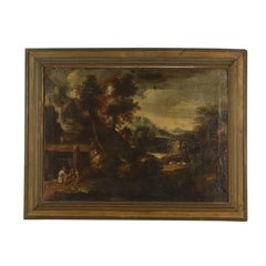 Landscape with Figures Oil Painting on Canvas 17th Century