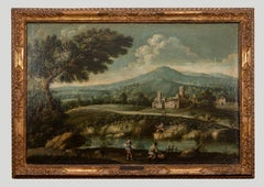 Landscape with figures - Original Oil Paint On Canvas - 18th Century