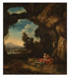 Landscape with Saint Jerome Penitent - by Master Roman School 18th Century