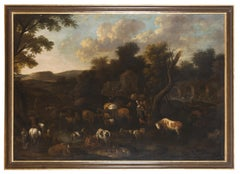 Landscape with Shepherds and Flocks - Oil on Canvas by Flemish Master - 1600