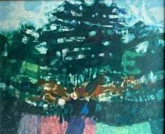 LARGE 1960'S FRENCH MODERNIST ABSTRACT LANDSCAPE SIGNED OIL PAINTING - GREEN