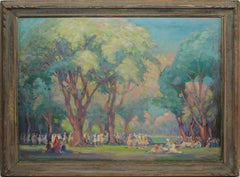 Large 19th Century Antique American Impressionist School Figures in a Park