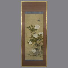 Large 19th Century Silk Scrollwork Painting