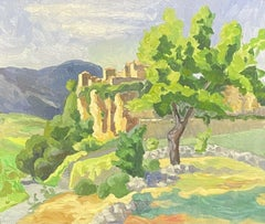 LARGE 20TH CENTURY FRENCH IMPRESSIONIST PROVENCE CHATEAU ON ROCKS LANDSCAPE