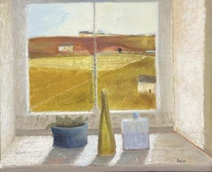 LARGE 20TH CENTURY FRENCH MODERNIST SIGNED OIL - INTERIOR ROOM WINDOW SILL VIEW