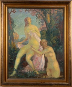 Large American Impressionist Signed Women Bathers Nude Portrait Oil Painting