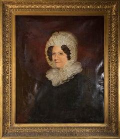 Large American School Mid 19th Century Oil - Portrait of a Quaker Woman