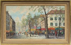 Large Antique Paris Impressionist Cafe Street Scene Signed Original Oil Painting