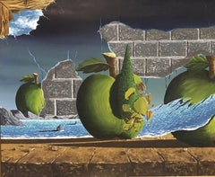 LARGE BRITISH SURREALIST OIL PAINTING C. 1980'S - APPLES IN FANTASY LANDSCAPE