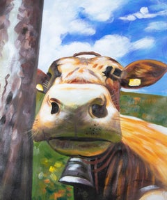 Large Contemporary Acrylic - Curious Cow
