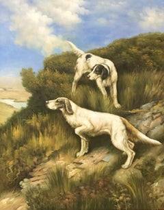 LARGE ENGLISH OIL PAINTING HUNTING HOUNDS ON THE SCENT IN LANDSCAPE