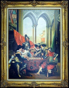 Large Figurative Oil Painting SPANISH CAVALIERS PLAYING CHESS