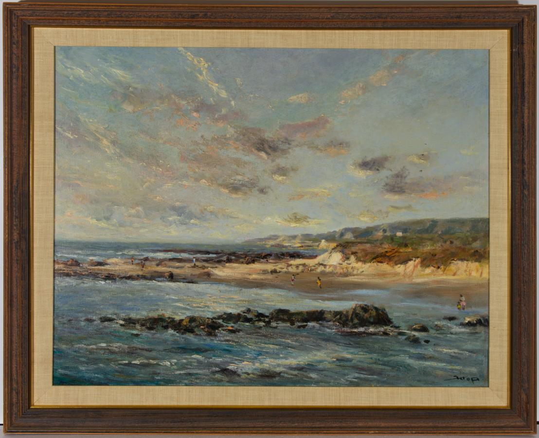 Large Framed Mid 20th Century Oil - Summer Beach Scene