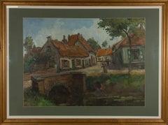 Large Framed Mid 20th Century Oil - Village Street Scene