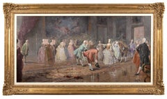 Large French Ballroom Scene, Oil Painting on board.