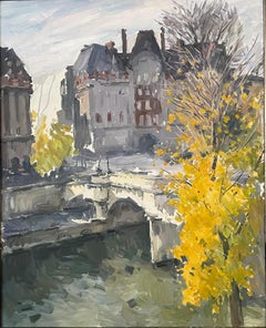 LARGE FRENCH IMPRESSIONIST OIL - APRIL IN PARIS - VIEW OVER RIVER SEINE