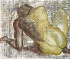 LARGE FRENCH MODERNIST SIGNED OIL PAINTING - NUDE FIGURE SEATED FROM BEHIND