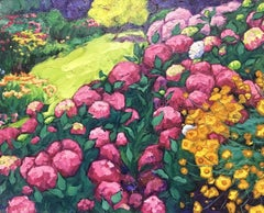 Large French Signed Oil Abundant Color Flower Garden Pinks Greens Orange Yellows