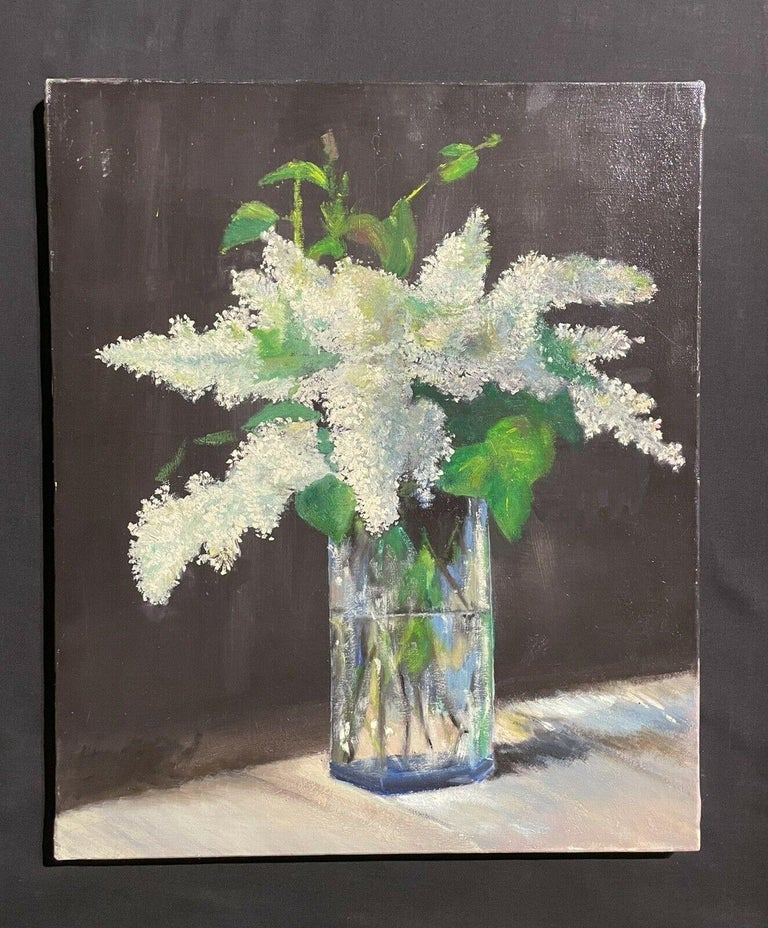 LARGE FRENCH VINTAGE OIL PAINTING ON CANVAS - STILL LIFE OF WHITE LILACS FLOWERS - Painting by Unknown