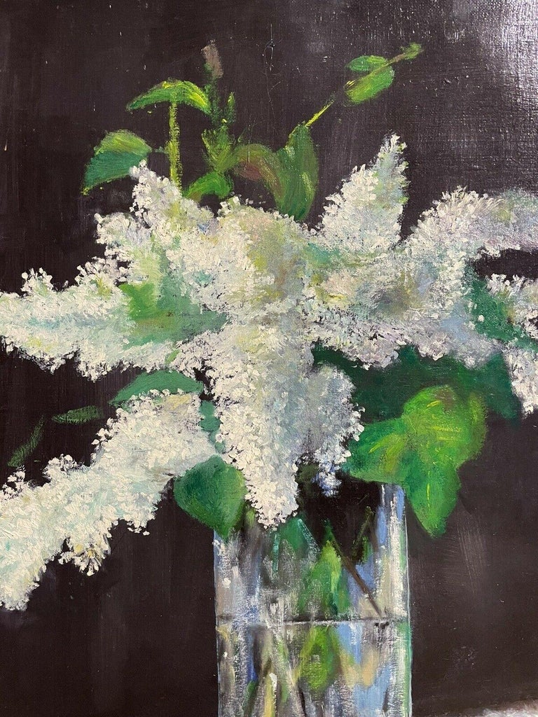 LARGE FRENCH VINTAGE OIL PAINTING ON CANVAS - STILL LIFE OF WHITE LILACS FLOWERS - Abstract Painting by Unknown