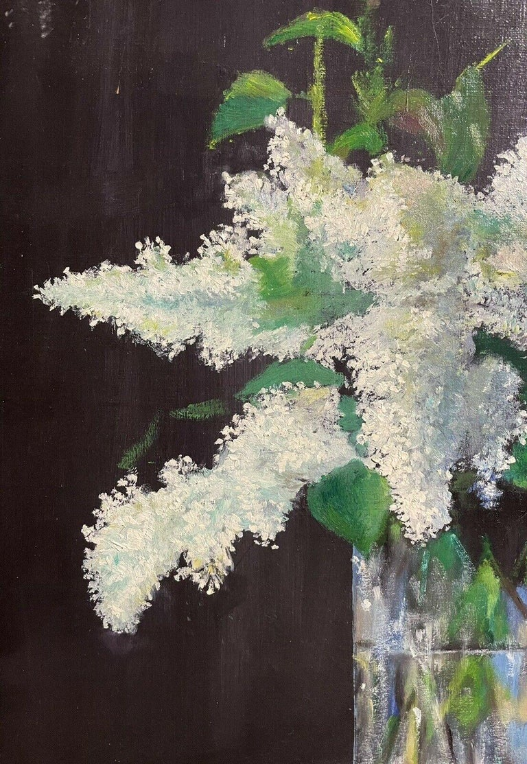 LARGE FRENCH VINTAGE OIL PAINTING ON CANVAS - STILL LIFE OF WHITE LILACS FLOWERS - Black Figurative Painting by Unknown