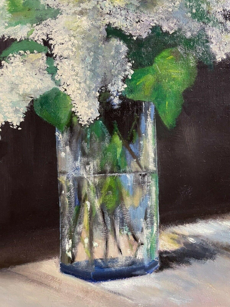 Artist/ School: French School, mid century/1960's  Title: Still Life of Flowers (White lilacs)  Medium: oil painting, on canvas.   Size: painting: 21.75 x 18 inches          Provenance: private collection, France  Condition: The painting is in good