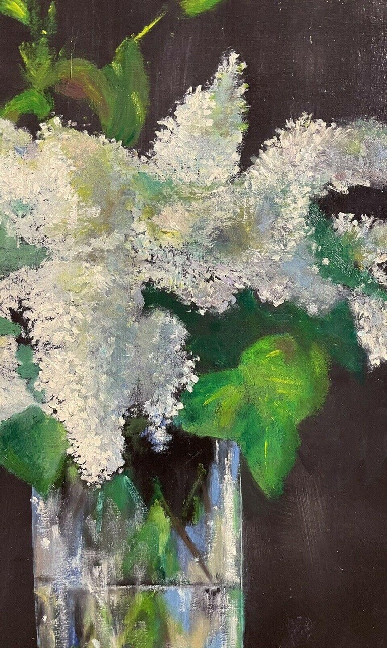 LARGE FRENCH VINTAGE OIL PAINTING ON CANVAS - STILL LIFE OF WHITE LILACS FLOWERS 1