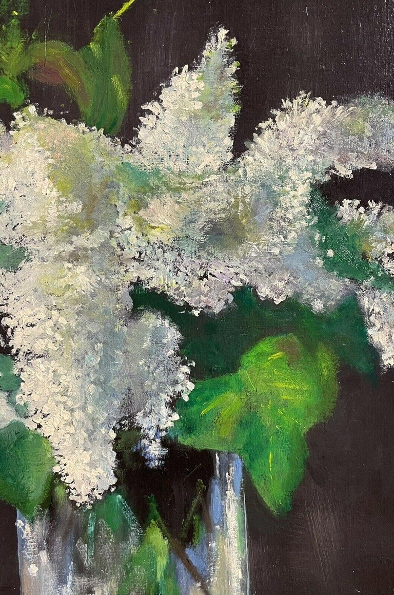 LARGE FRENCH VINTAGE OIL PAINTING ON CANVAS - STILL LIFE OF WHITE LILACS FLOWERS 2