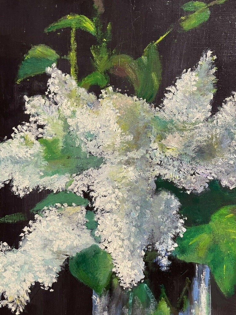 LARGE FRENCH VINTAGE OIL PAINTING ON CANVAS - STILL LIFE OF WHITE LILACS FLOWERS 3