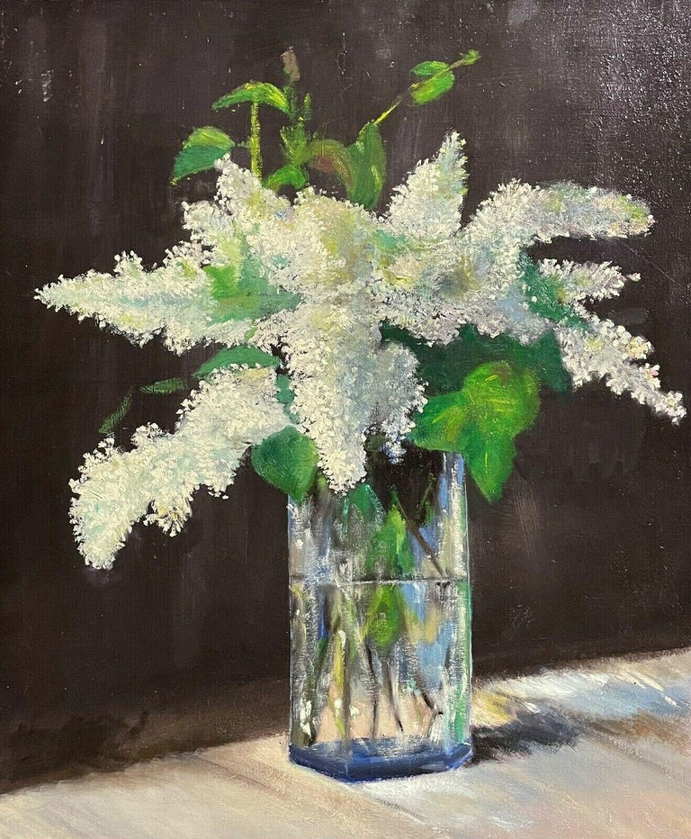 Unknown Figurative Painting - LARGE FRENCH VINTAGE OIL PAINTING ON CANVAS - STILL LIFE OF WHITE LILACS FLOWERS