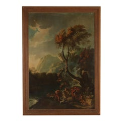 Large Landscape Wild Boar Hunting Oil on Canvas 18th Century