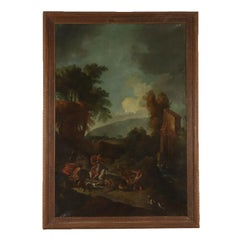 Large Landscape with Hunting Scene Oil on Canvas 18th Century. Deer Hunt